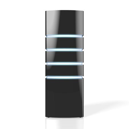 3D modern black server with LED lights - great for topics like datacenter hosting storage etc.