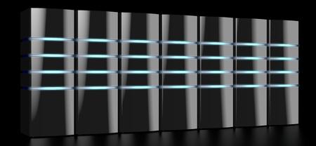 3D modern black servers with LED lights - great for topics like datacenter hosting storage etc. Imagens