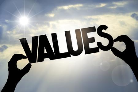 Values concept - hands, text, sky Banque d'images