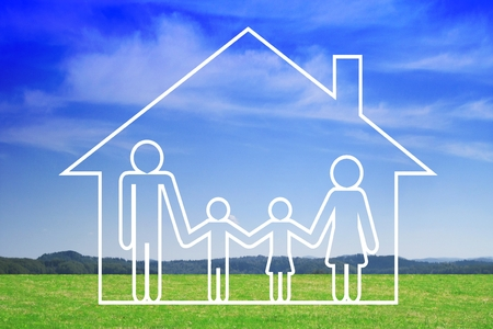 Family life and house insurance concept Stockfoto