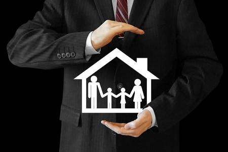 Businessman, house and family insurance concept Reklamní fotografie