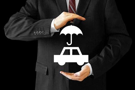 Businessman, car insurance concept