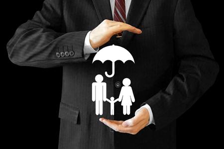 Businessman, family life insurance concept