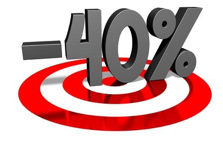 -40% sale discount concept 스톡 콘텐츠