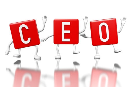 3D red cubes word - ceo (chief executive officer)