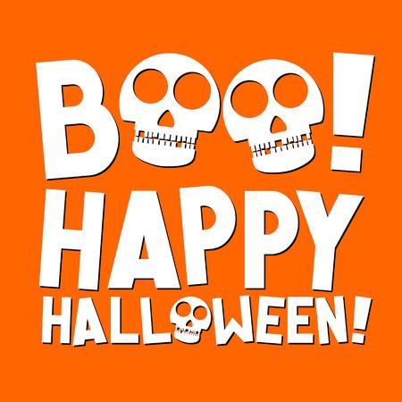 Happy Halloween - illustration with skulls