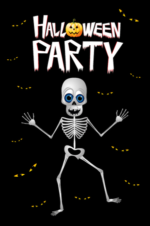 Halloween party poster banner with a skeleton