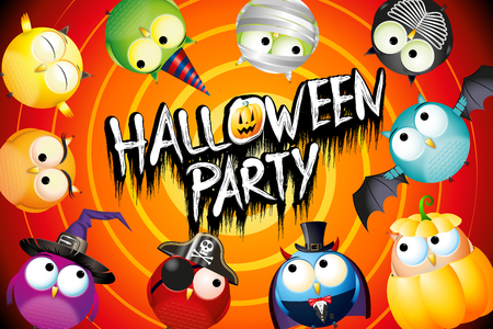 Halloween party poster/ banner with colorful owls in fancy dresses Standard-Bild - 119898687