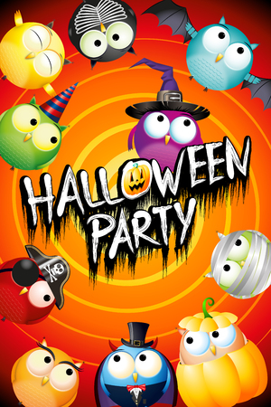 Halloween party poster/ banner with colorful owls in fancy dresses Standard-Bild - 119898688