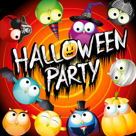 Halloween party poster banner with colorful owls in fancy dresses Imagens