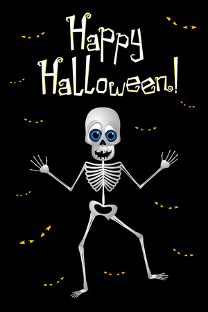 Happy Halloween - poster with a skeleton Imagens