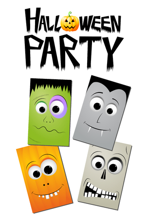 Halloween party - zombie, pumpkin, skull, dracula