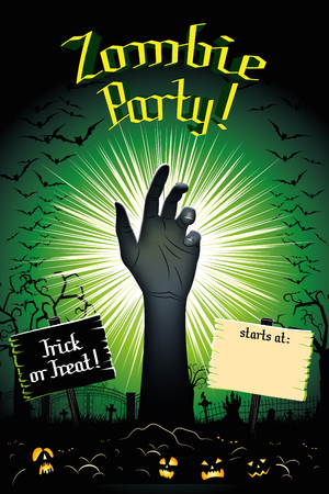Zombie party Halloween party poster banner
