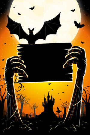 Halloween banner poster with hands bat cemetery
