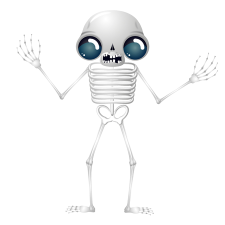 Skeleton - cartoon character isolated on white background Imagens