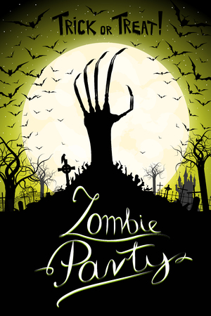 Zombie party/ Halloween party poster/ banner Standard-Bild - 120764205