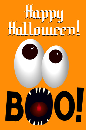 Happy Halloween baner poster - boo! Stock Photo