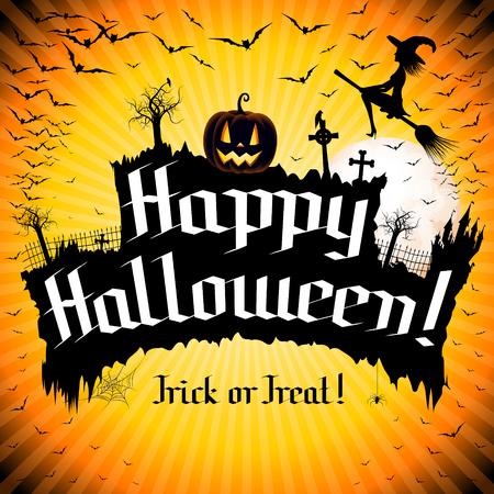 Happy Halloween poster design Standard-Bild - 122177340