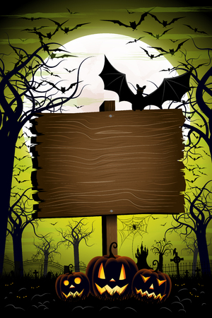 Halloween banner/ poster with signboard