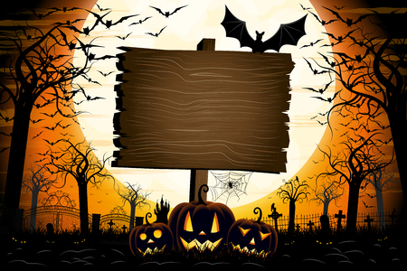 Halloween banner with signboard