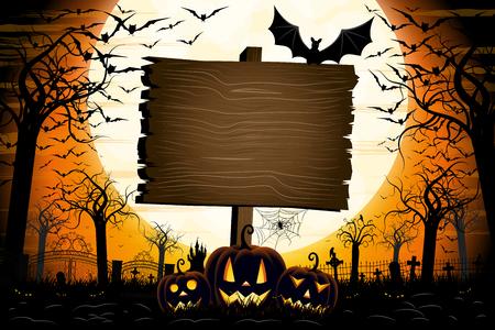 Halloween banner with signboard Banco de Imagens - 122179949