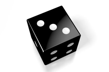 3D black dice on white background - three Stock Photo