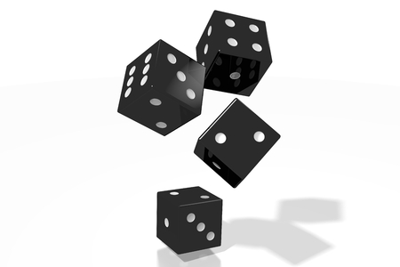 3D black dice on white background