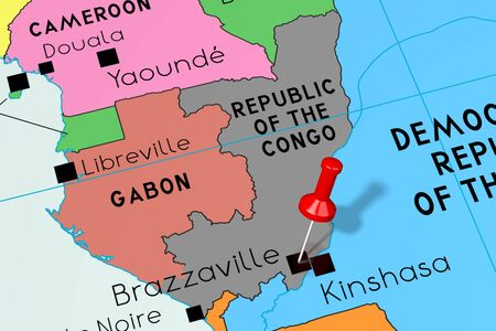 Republic of the Congo, Brazzaville - capital city, pinned on political map