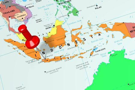 Indonesia, Jakarta - capital city, pinned on political map Stock Photo