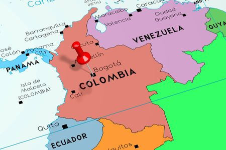 Colombia, Bogota - capital city, pinned on political map