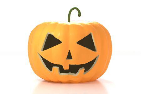 3D Halloween pumpkin - Jack-o-Lantern on white background 免版税图像