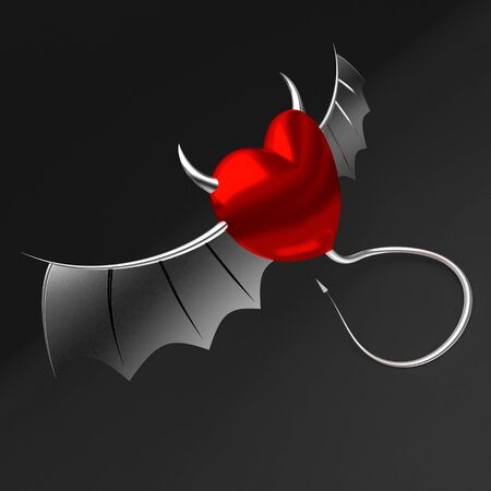 3D heart with devil horns and tail 写真素材