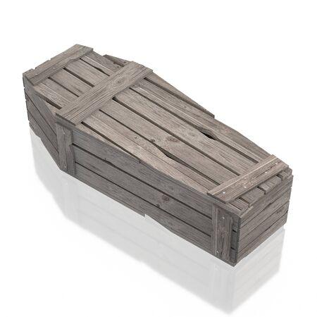 3D Holzsarg / Sarg isoliert auf weißem Hintergrund Standard-Bild
