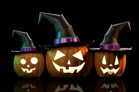 Halloween pumpkins wearing hats - isolated on black background Banco de Imagens