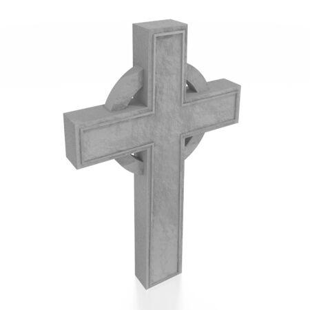 3D celtic cross on white background Banco de Imagens