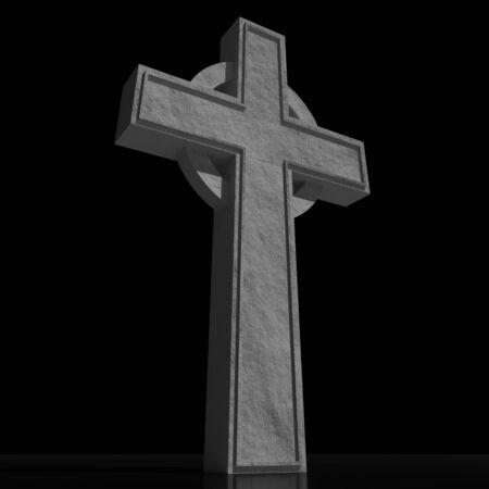 3D celtic cross on black background