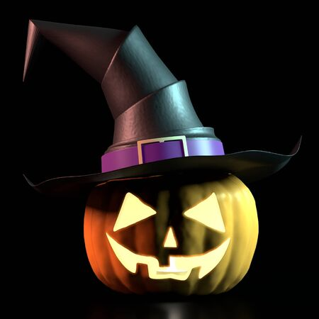 Halloween pumpkin wearing witch hat - isolated on black background Banco de Imagens - 128522493