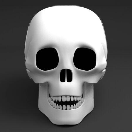 3D human skull on black background