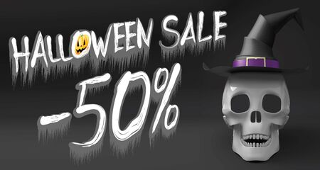 Halloween sale -50% - banner with a skull wearing witch hat