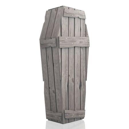 3D Holzsarg / Sarg isoliert auf weißem Hintergrund