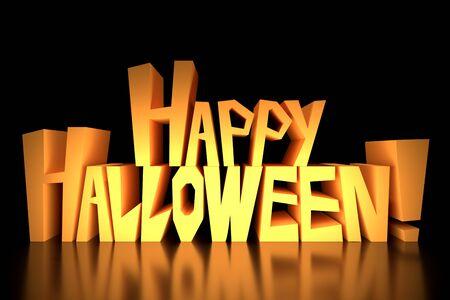 Happy Halloween text on black background Banco de Imagens