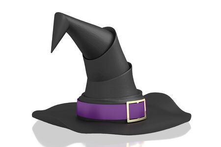 3D black witch hat with violet ribbon - isolated on white background Stockfoto
