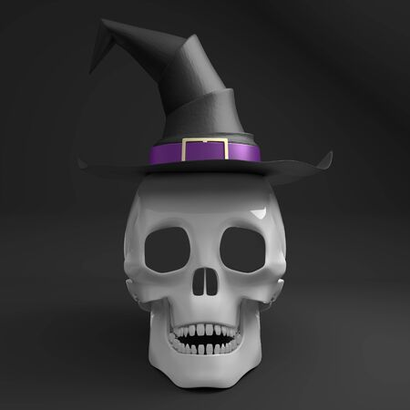 3D skull wearing witch hat - isolated on black background Banco de Imagens - 128522519