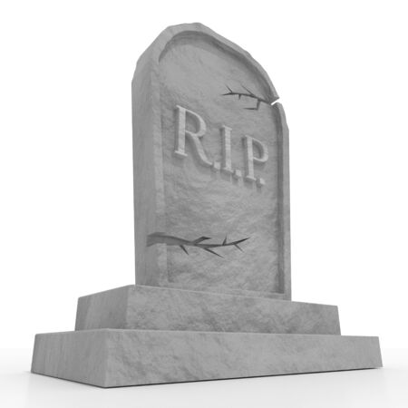 3D grave with rest in peace (RIP) letters, white background Banco de Imagens - 128522520