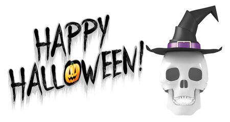 Happy Halloween - banner with a skull wearing witch hat