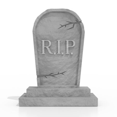 3D grave with rest in peace (RIP) letters, white background Stockfoto