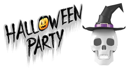 Halloween banner with a skull wearing witch hat Stockfoto