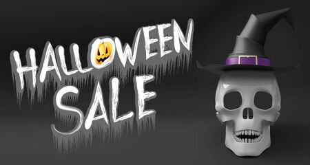 Halloween sale - banner with a skull wearing witch hat