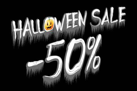 Halloween sale -50% illustration - on black background Banco de Imagens