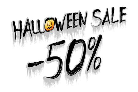 Halloween sale -50% illustration - on white background